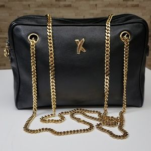 Paloma Picasso Blk Leather w Gold Chain Straps